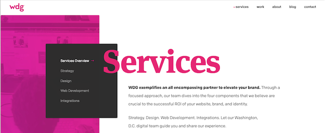 This is the Services page for WDG, who do great branding with company colors on their site.