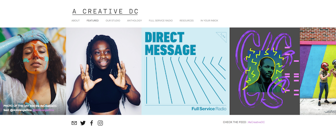 The home page for A Creative DC has a good balance of photos, text, and whitespace, or negative space.