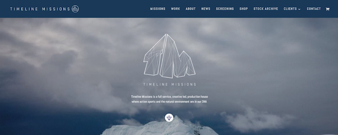 This is the homepage of Timeline Missions, which uses the Divi Theme, just like DC Dev Shop.